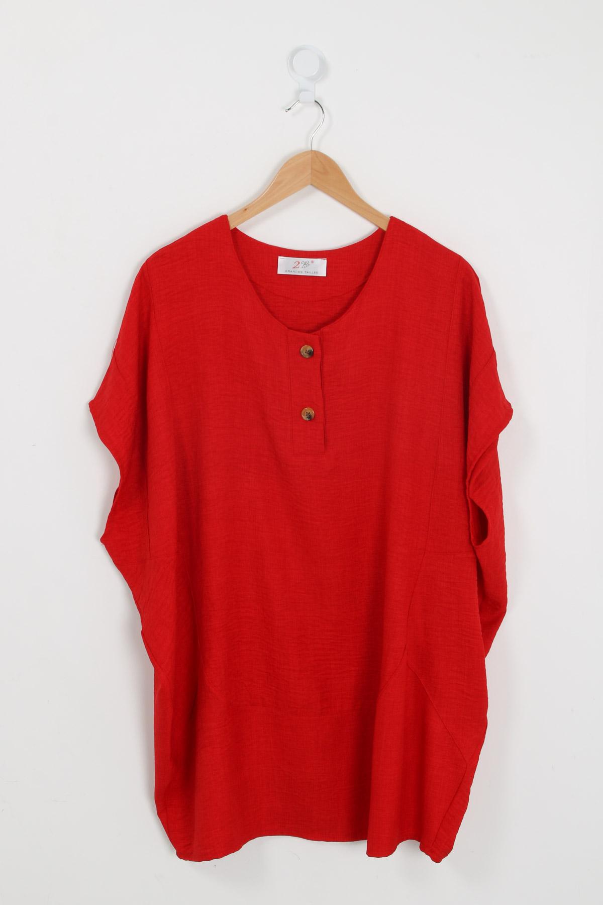 Blouse grande taille femme H3458 rouge 2W PARIS