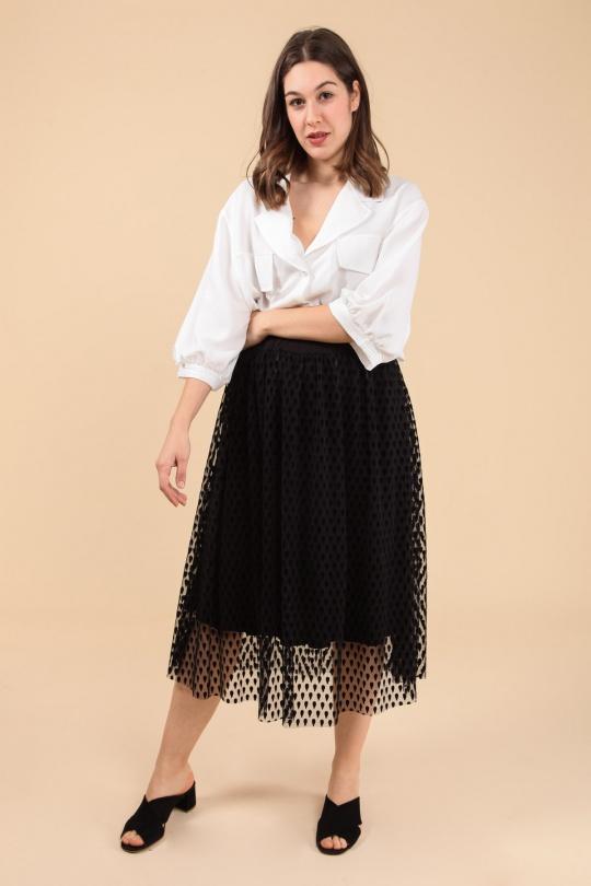 jupe grande taille femme 2W PARIS j2127 noir 46-60