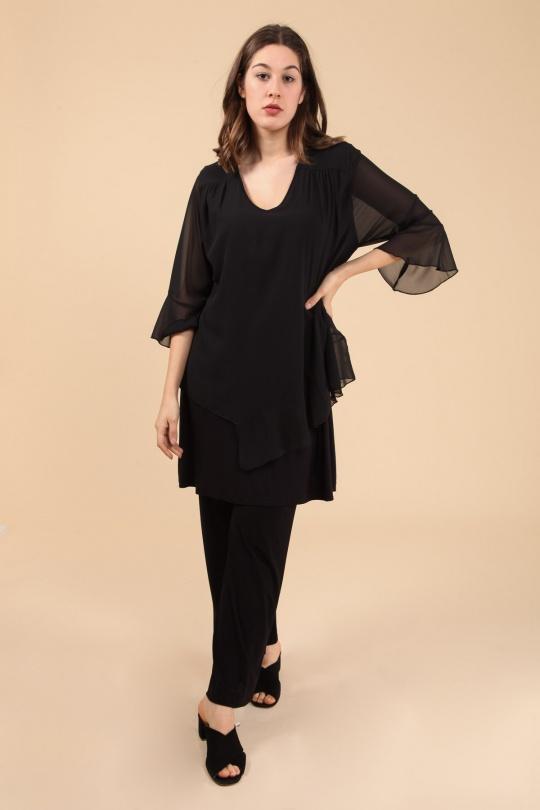 tunique grande taille femme 2W PARIS h3462 noir 46-60