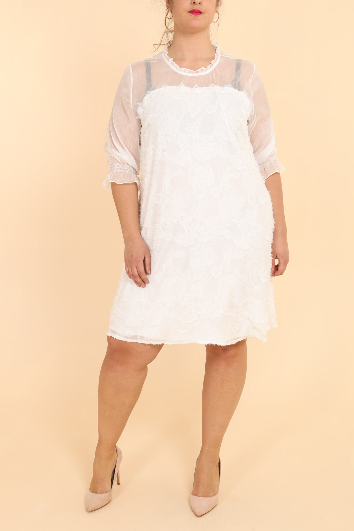 robe grande taille femme pomme rouge c6190 blanc 42-52