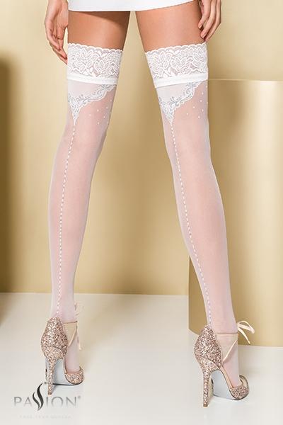 Bas fantaisie autofixant blanc ST107 Passion lingerie