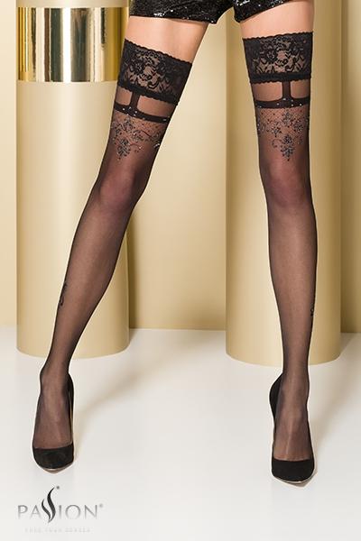 Bas fantaisie autofixant noir ST104 Passion lingerie