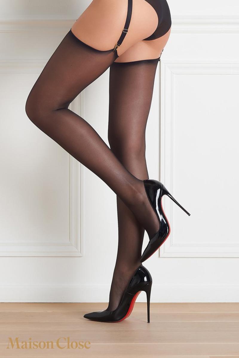 Bas voile noir Maison Close lingerie soyeux coupés roulés