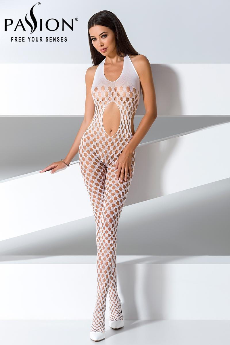 white catsuit Passion lingerie blanc 16030