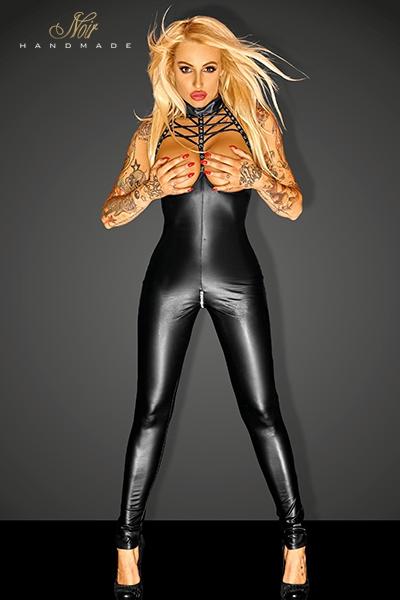 Combinaison sexy femme ouvert bodystocking noir handmade 10987