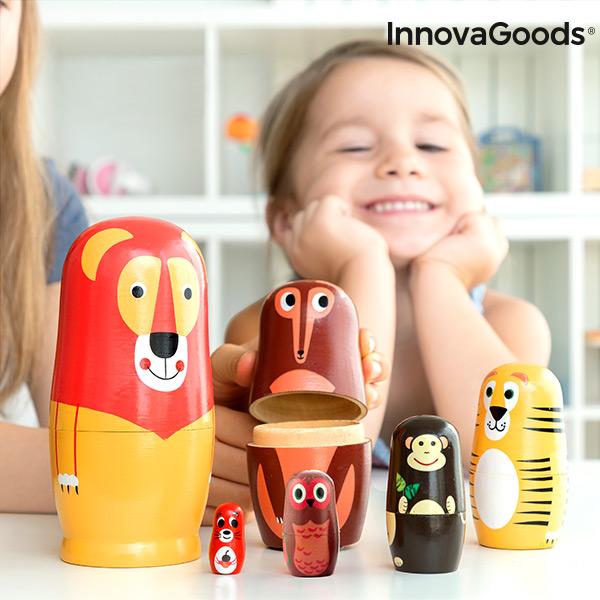 Poupée russe en bois avec figurines d\'animaux Funimals InnovaGoods 11 Pièces