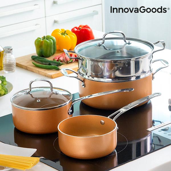 Batterie de Cuisine avec Cuiseur-Vapeur Copper-Effect InnovaGoods