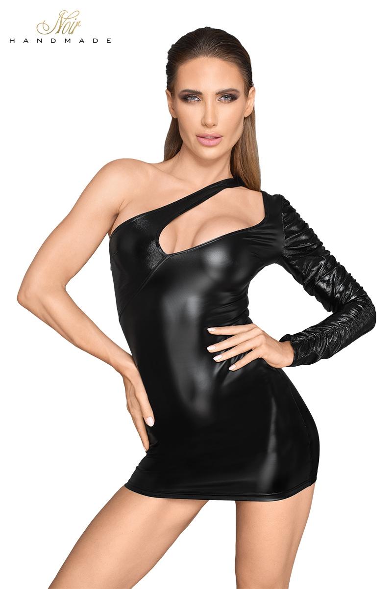 Mini robe noir handmade asymétrique F199