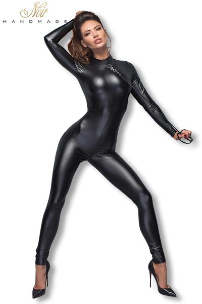 Combinaison latex powerwetlook ouvert bodystocking lingerie 13453 noir handmade