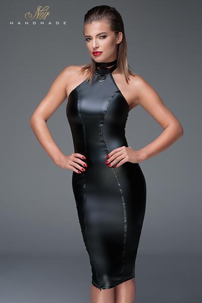 Robe moulante sexy wetlook f160 noir handmade