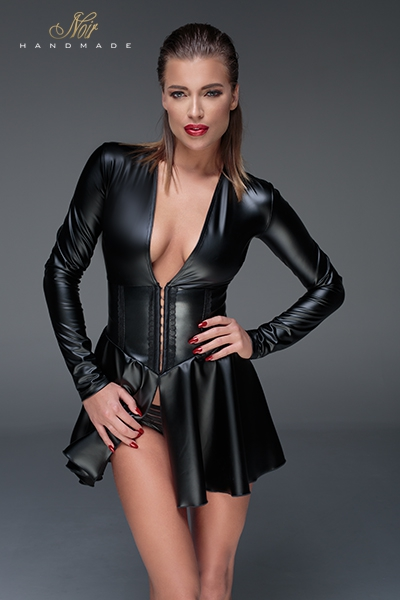 Mini robe sexy en latex corset wetlook f154 noir Handmade