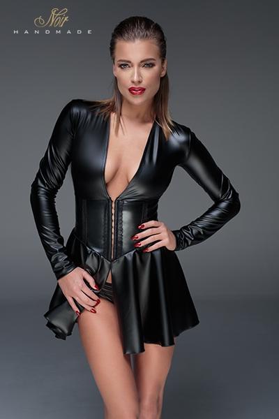 Mini robe en latex corset wet look F154 noir Handmade