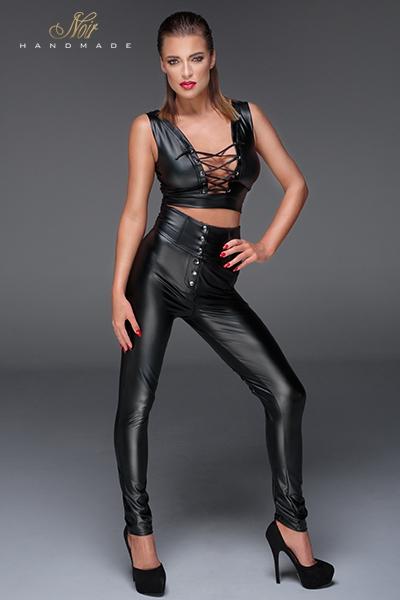 Pantalon wetlook ouvert taille haute laçage F148 noir handmade