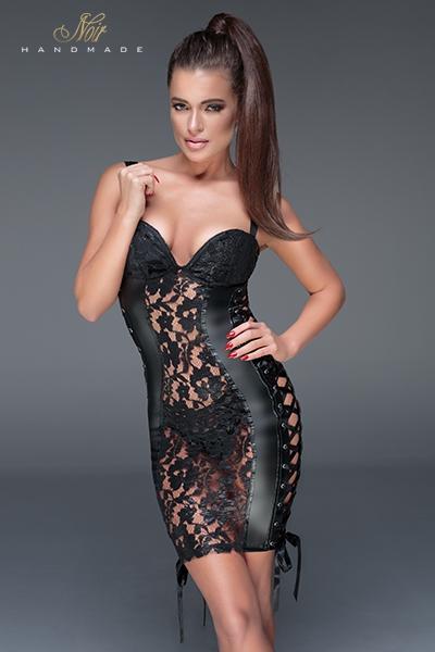 Mini robe sexy glamourous noir handmade dentelle et rubans