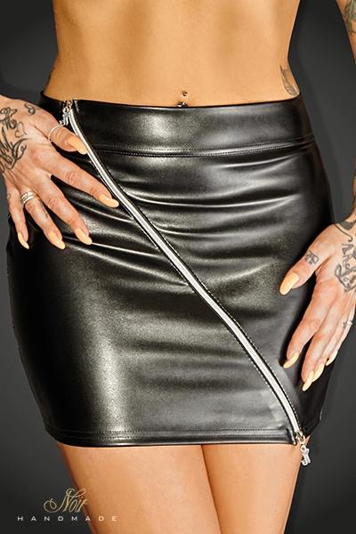 Mini jupe simili cuir noir Handmade Ruler