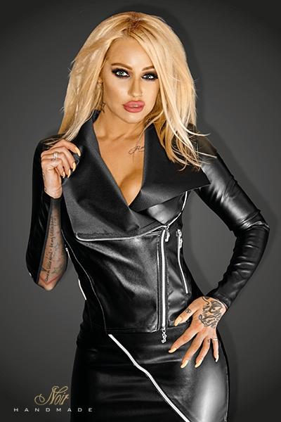 Perfecto simili cuir femme snobish noir handmade
