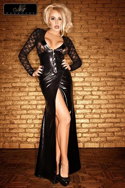 Robe longue moulante noir tenue coquine Handmade Lady