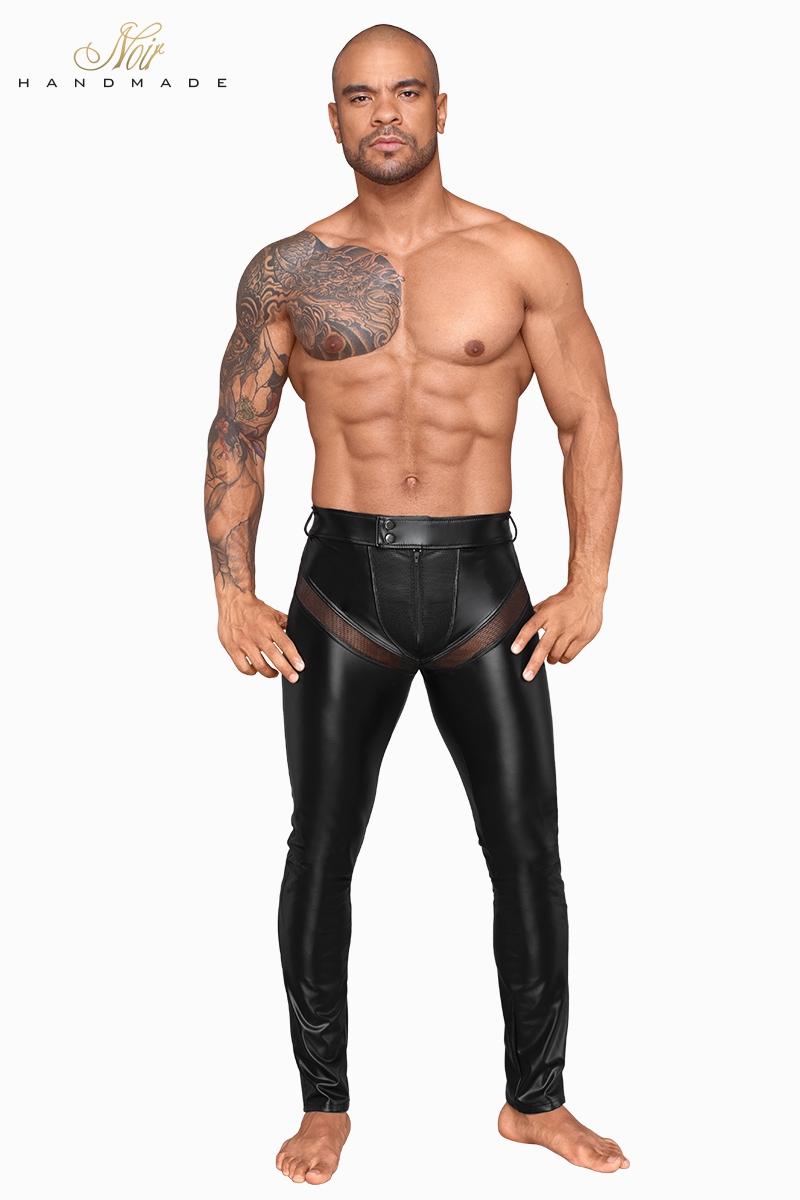Pantalon wetlook et filet H059 noir handmade