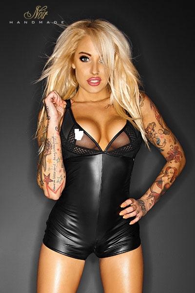 Combishort sexy wetlook promiscuous noir handmade