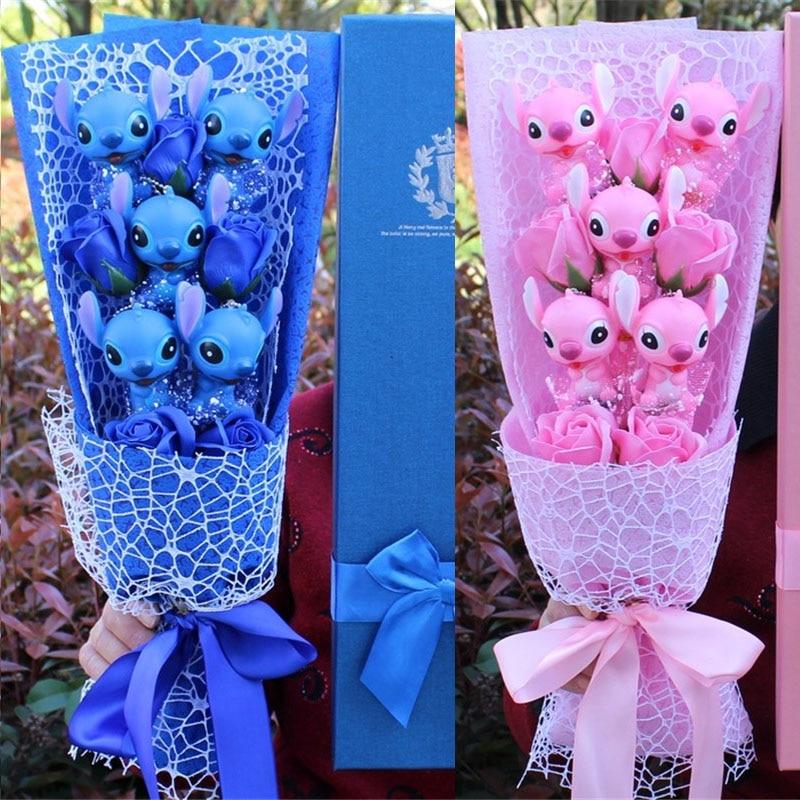 Bouquet de fleurs stitch rose ou bleu fleurs de savon Andralyn