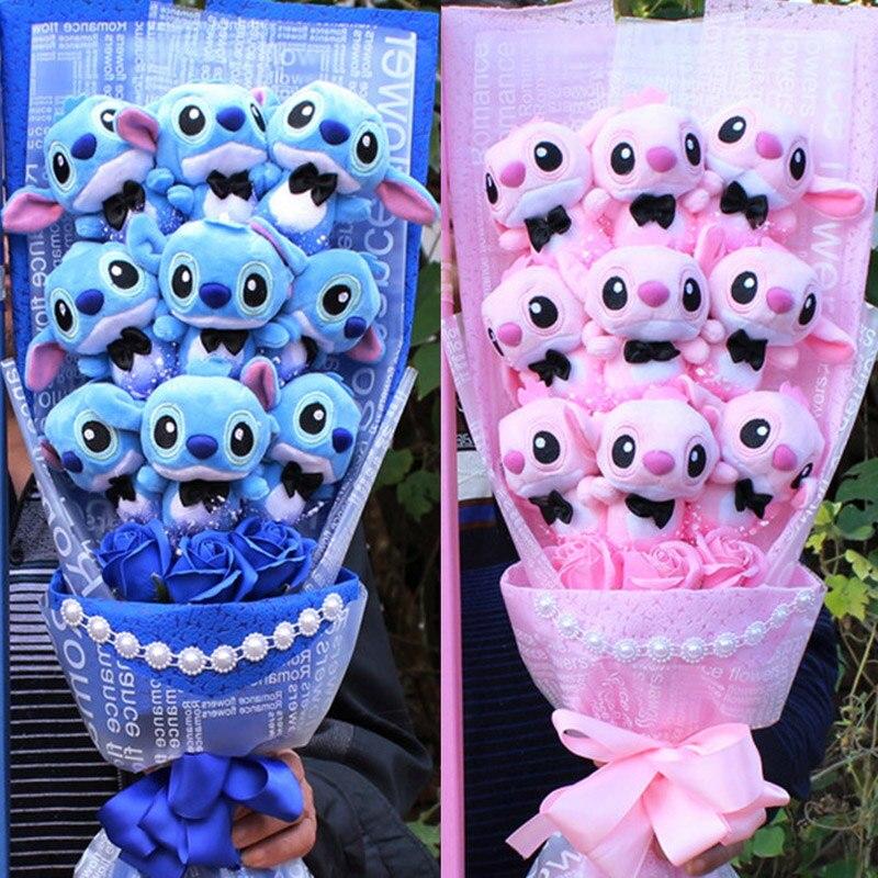 Bouquet de stitch rose ou bleu fleurs de savon Andralyn