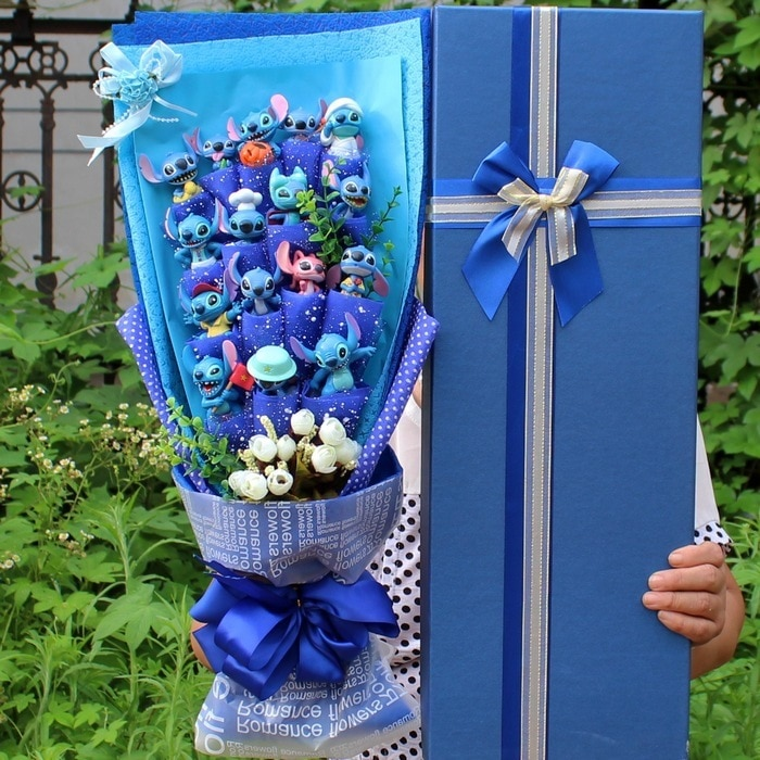 Bouquet rose stitch bleu et rose