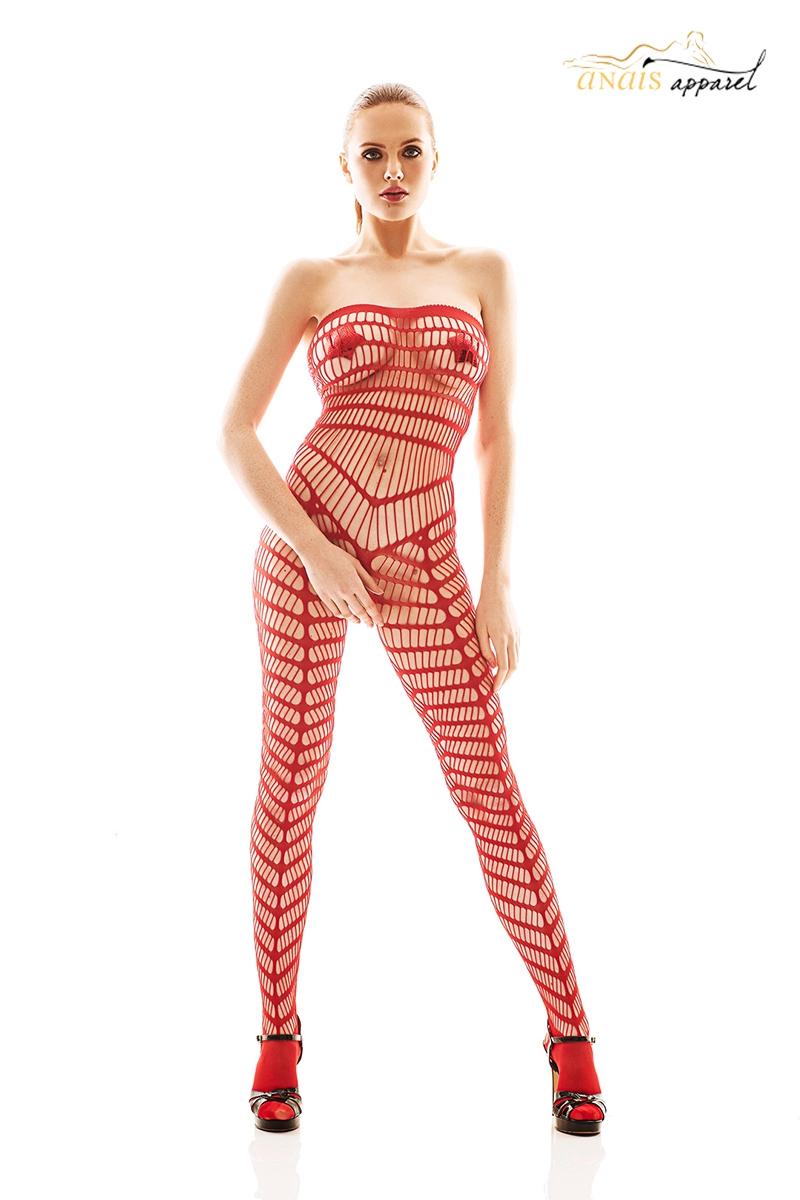Combinaison resille rouge bodystocking orica lingerie Anais