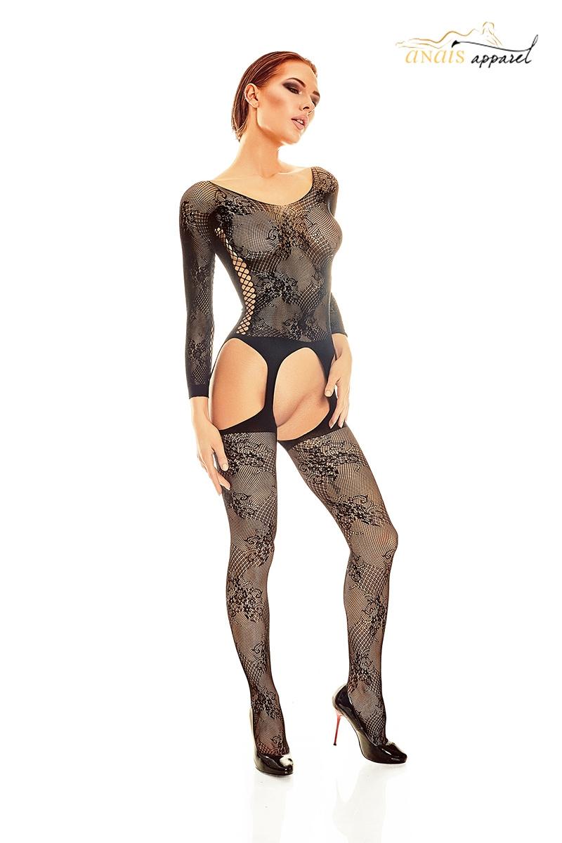 Combinaison resille noir bodystocking onixx lingerie Anais