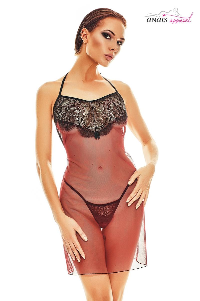 Nuisette sexy rouge et noire fantasme lingerie Anais