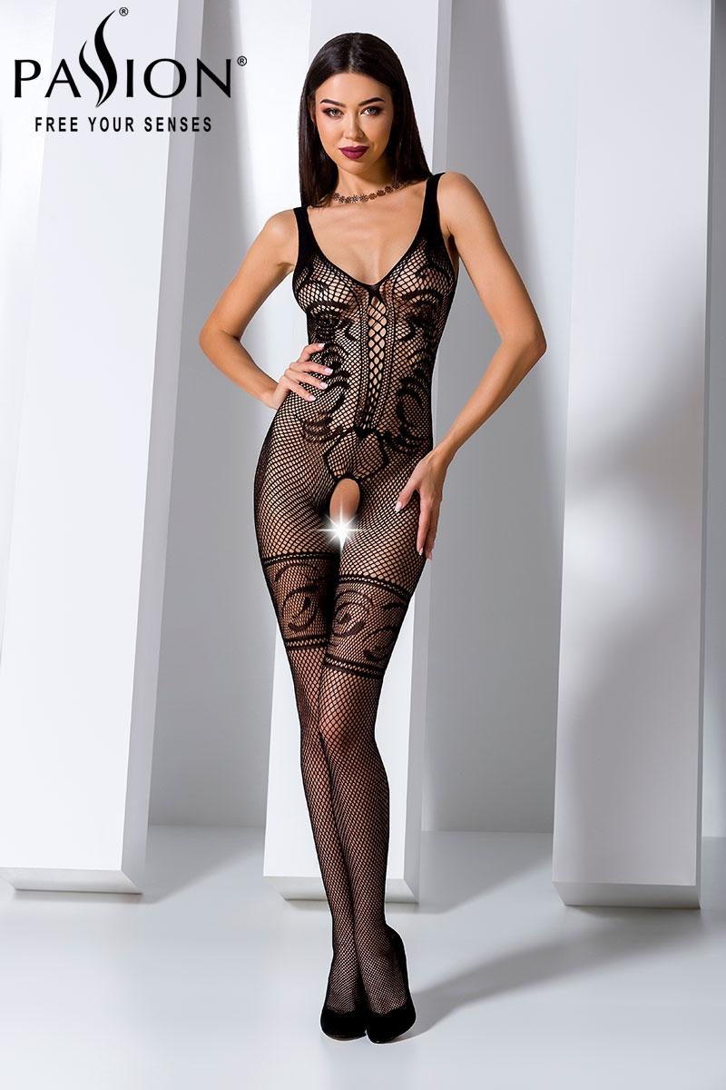 catsuit bodystocking passion lingerie noir bs069