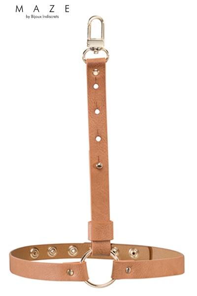 Jarretiere faux cuir marron Maze Bijoux Indiscrets