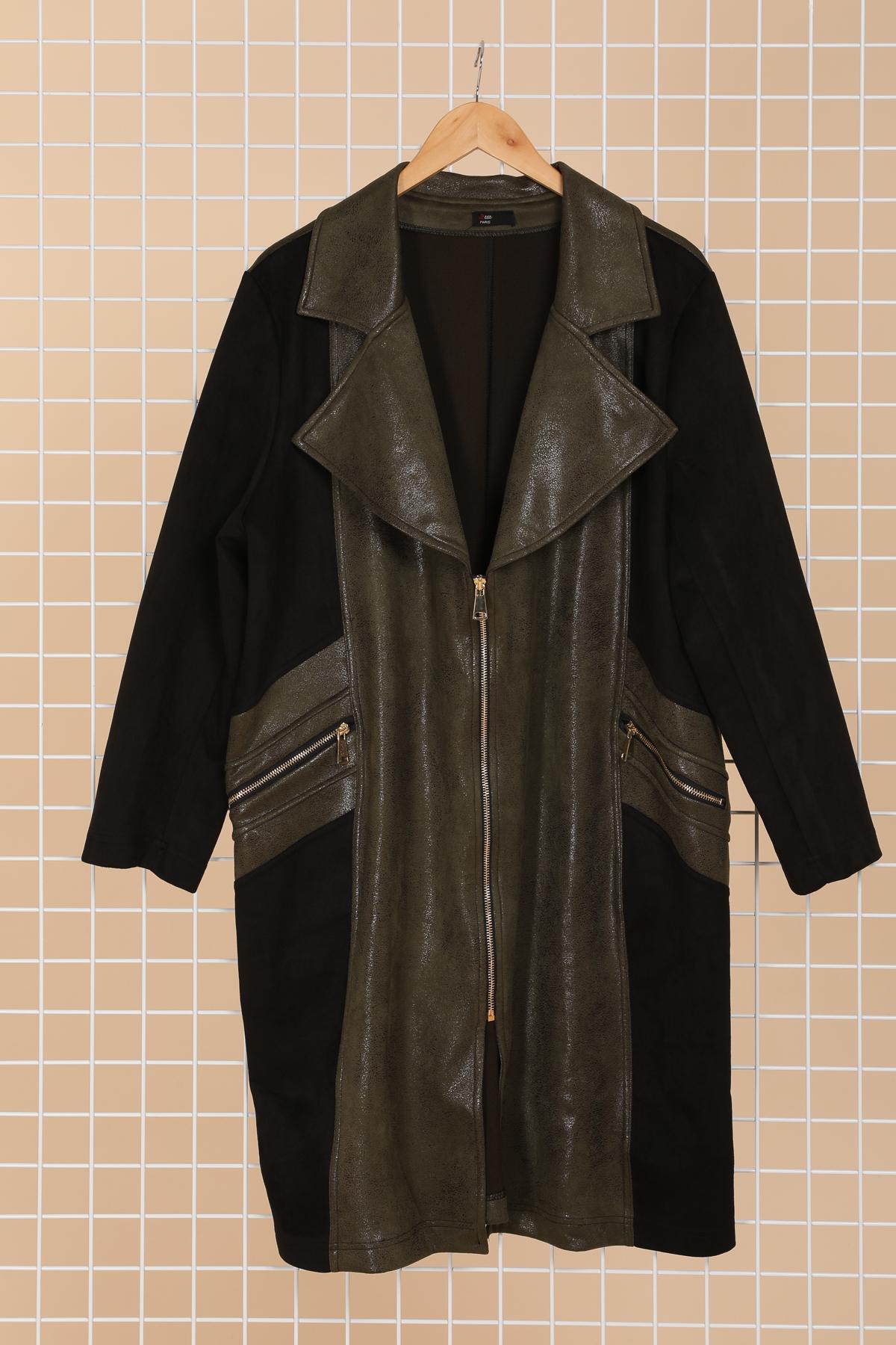 veste demi saison grande taille marque 2w paris noir kaki m1365