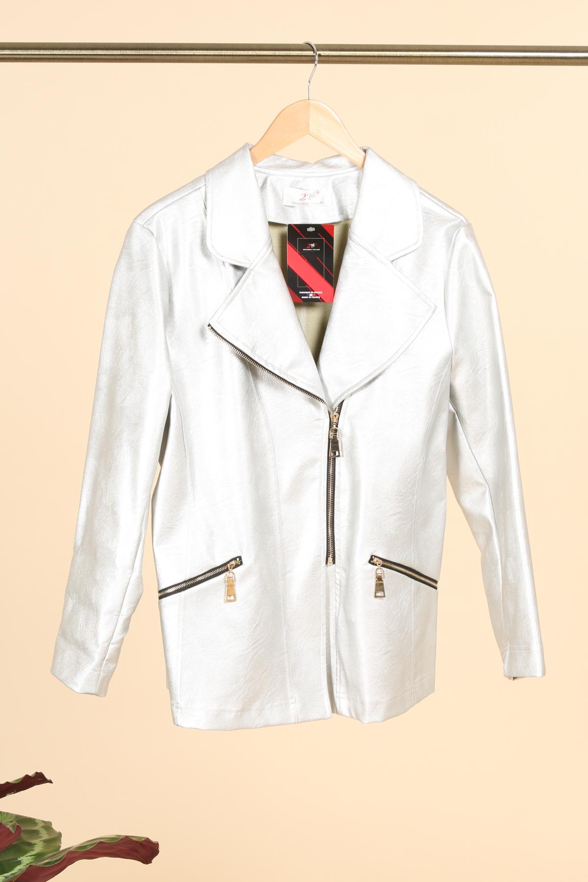 veste simili cuir femme grande taille marque 2w paris argent v1352