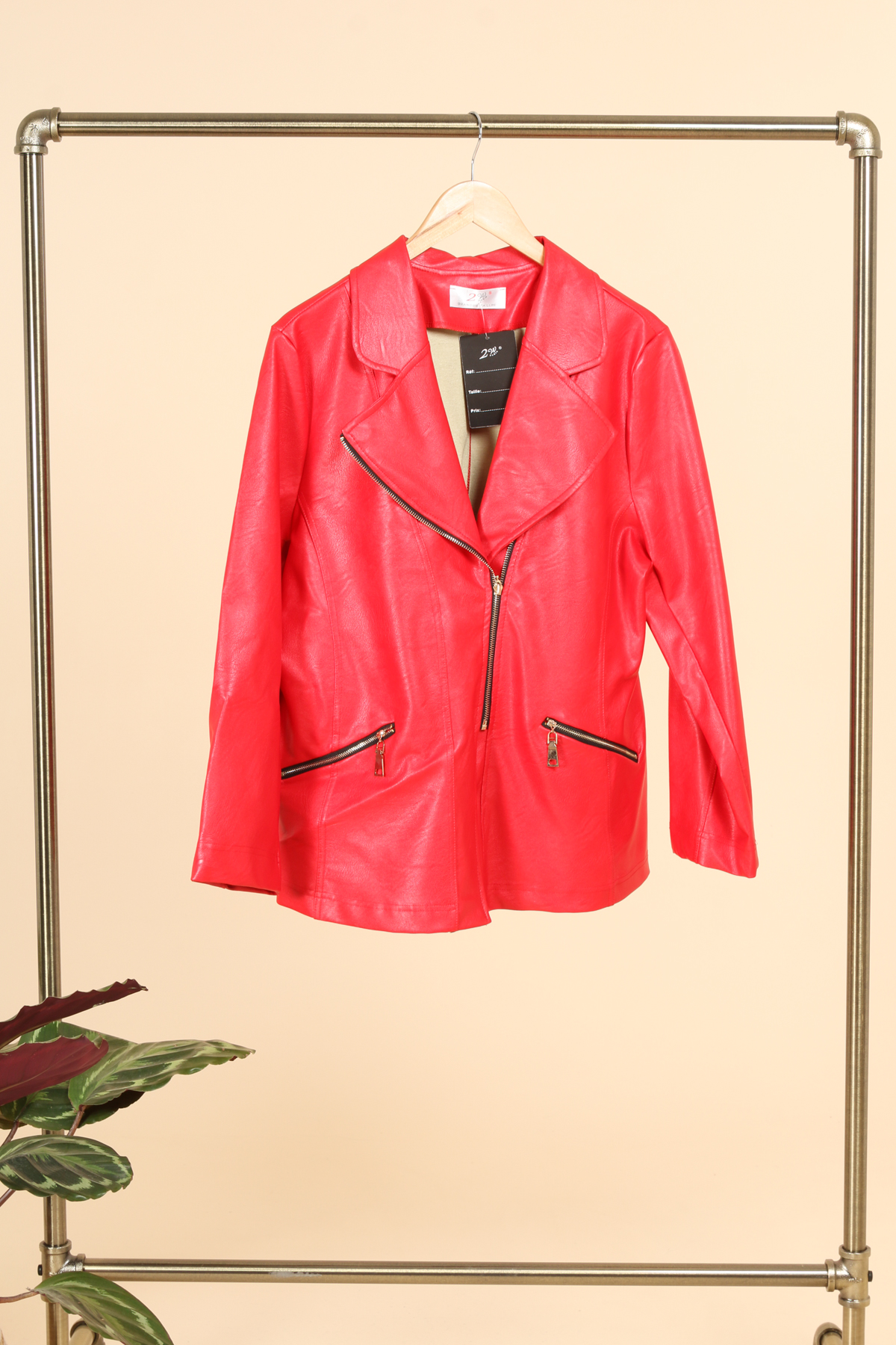 veste simili cuir femme grande taille marque 2w paris rouge v1352