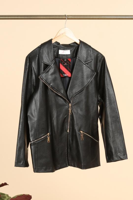 veste simili cuir femme grande taille marque 2w paris noir v1352