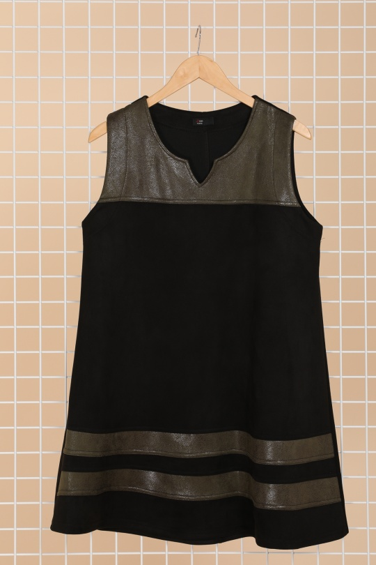 robe grande taille femme moderne 2w noir kaki r1367