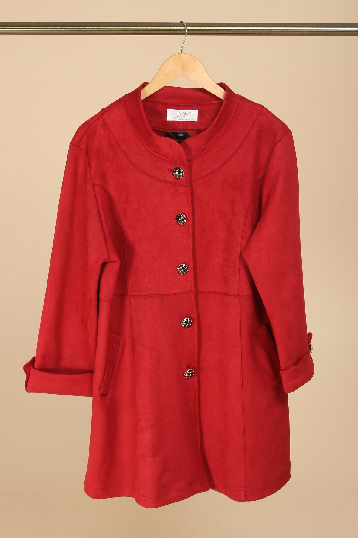 veste demi saison grande taille marque 2w paris rouge v1361