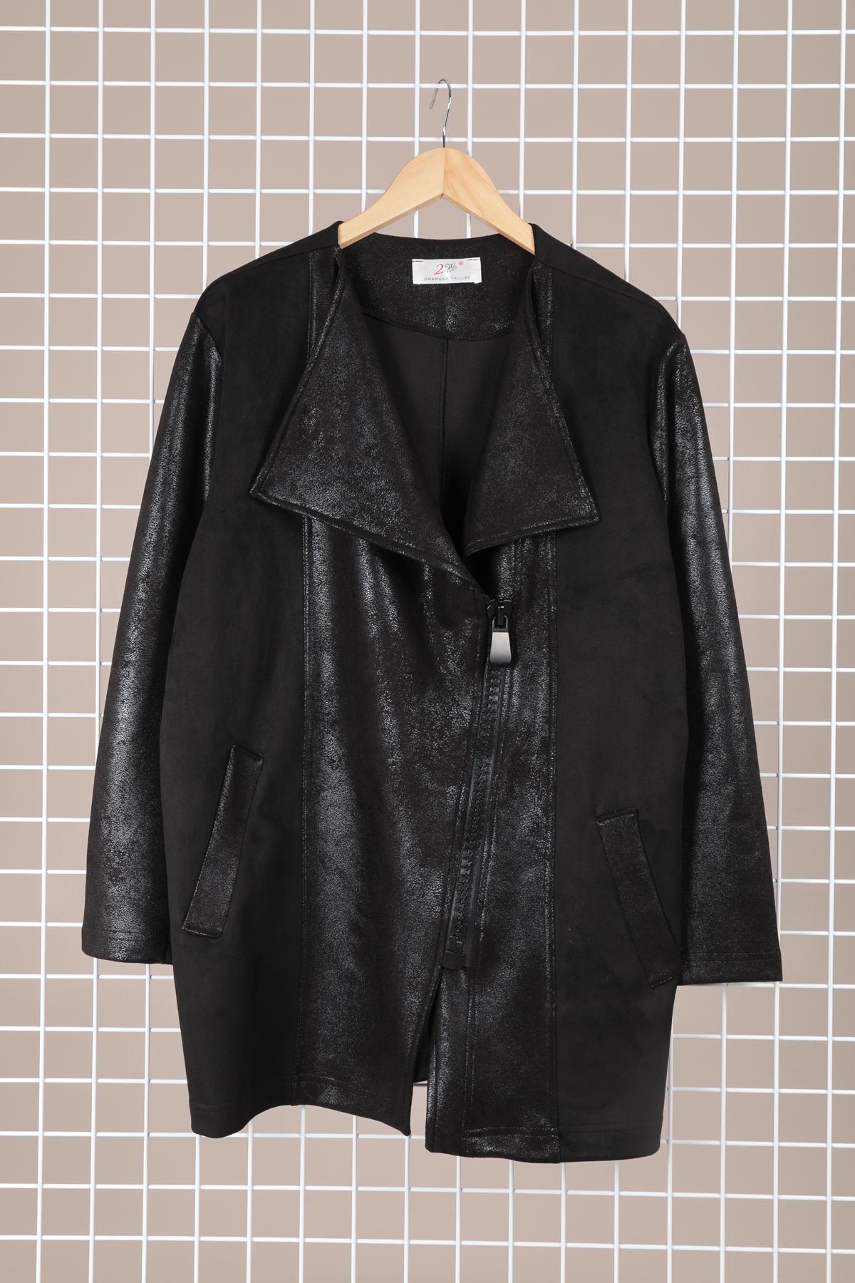 veste demi saison grande taille marque 2w paris noir v1373