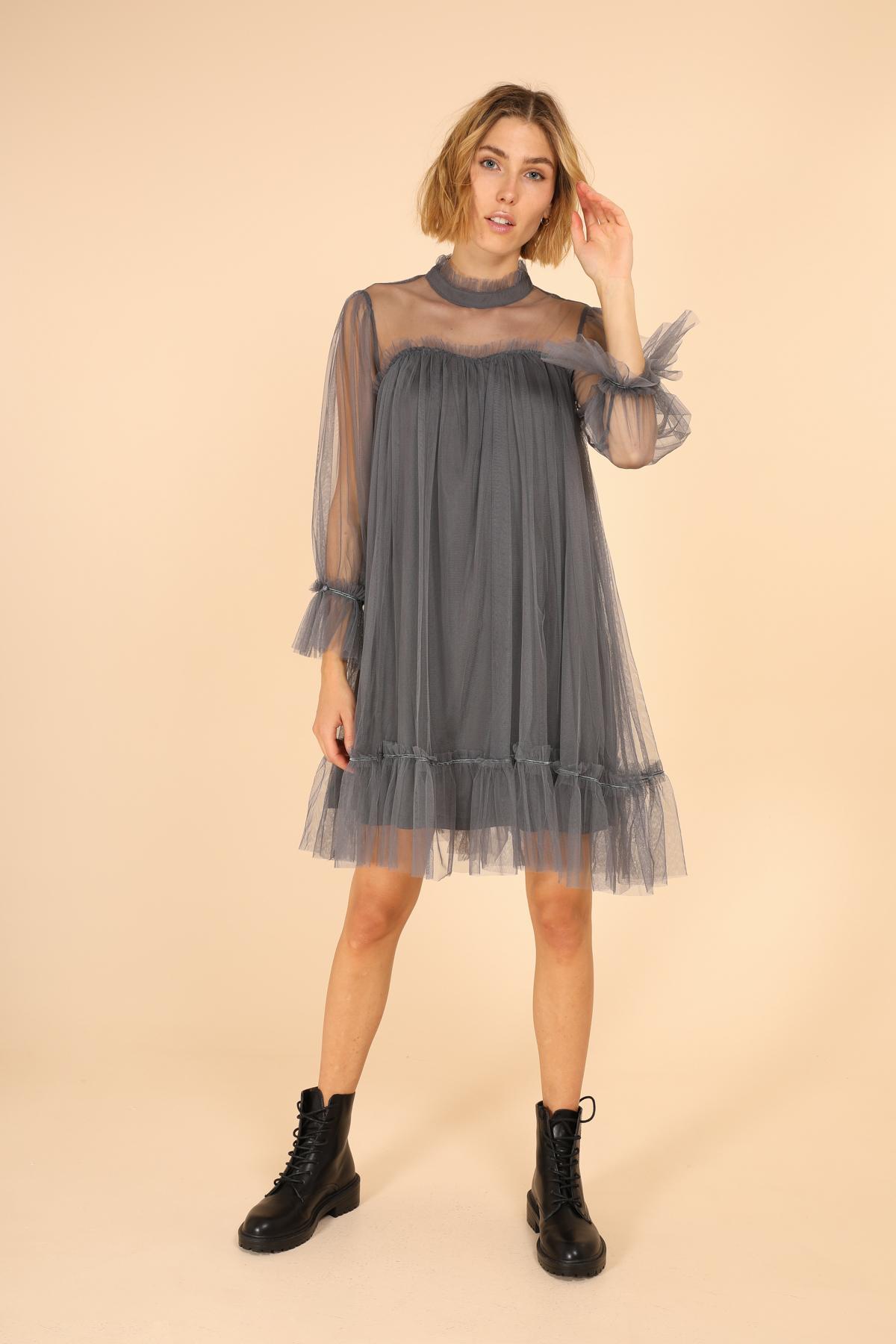 marque choklate robe courte chic gris 80876