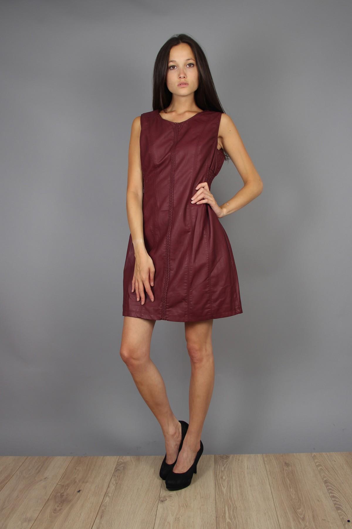 Robe femme grande taille évasée en simili cuir bordeaux