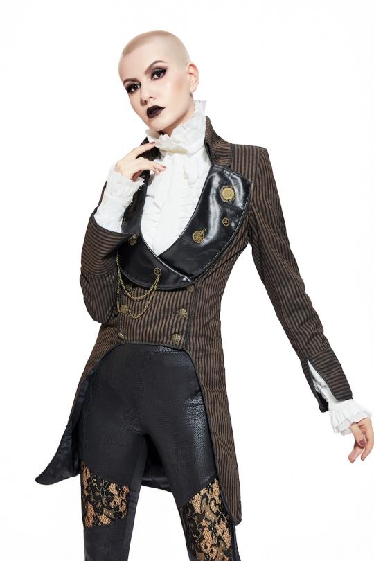 veste queue de pie steampunk femme pentagramme S au XXL