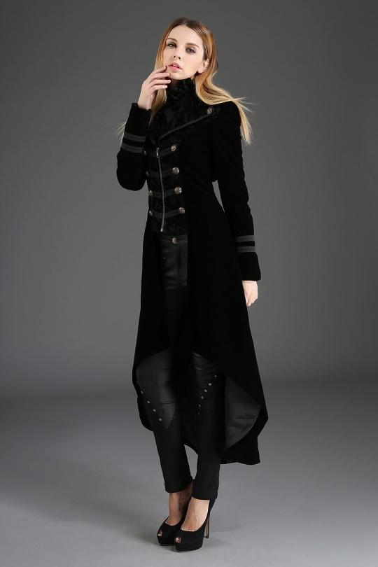 manteau aristocrate gothique noir femme pentagramme S au XXL