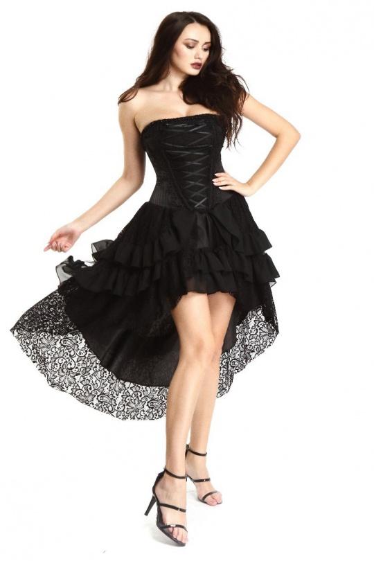 robe noire dentelle gothique bustier pentagramme S au XXL