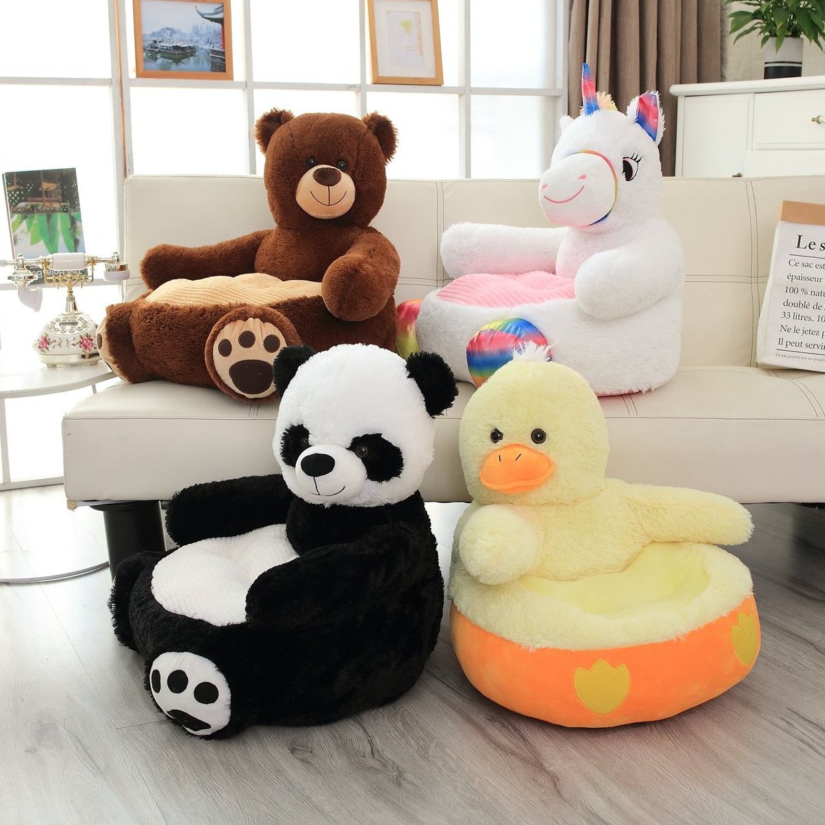 Fauteuil en peluche pour bebe panda ours licorne canard