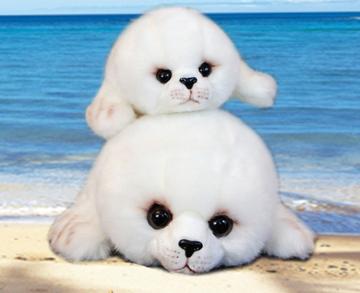 peluche bébé phoque blanc