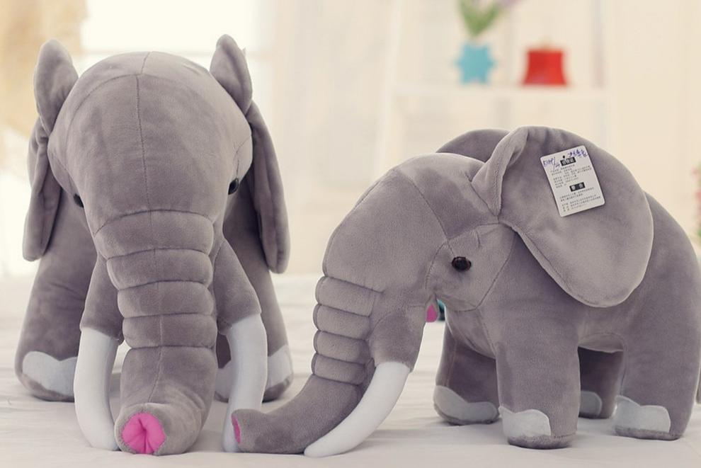 Elephant gris en peluche 45-80 cm