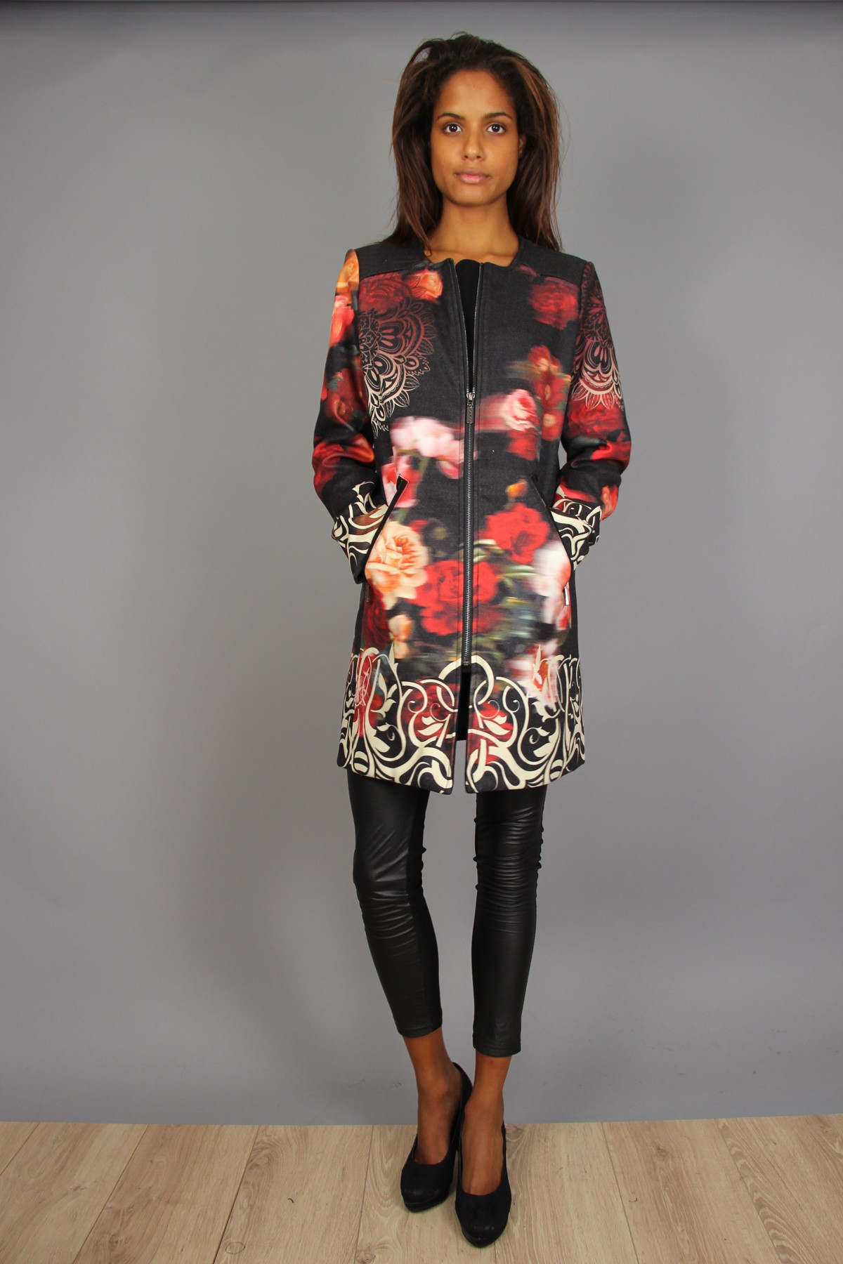 Manteau 101 idées femme zippé à imprimé graphique rose S au LXL