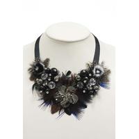collier femme noir plume