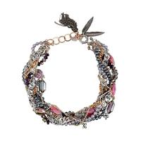 Collier fibrine multiples Avec des pierres et des charmes agate rose maiden-art