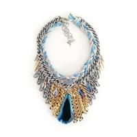 Collier fibrine multiples Avec Une grande pierre d'agate bleue et cuir suède maiden-art